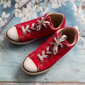 Converse Boy US 4 Red Canvas Lace-Up Sneakers